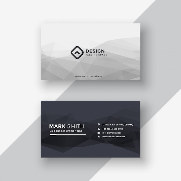 Abstract black and white business card Free Vector