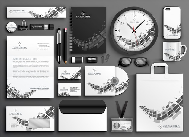 Abstract black and white business stationery set Free Vector