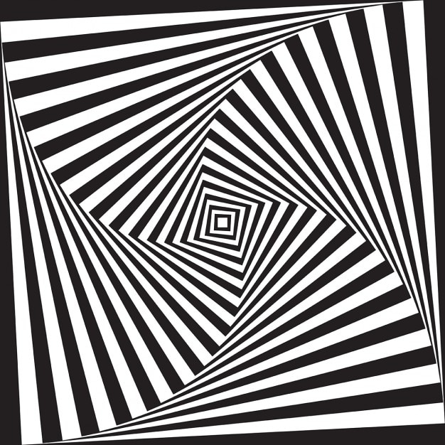 Abstract black and white optical illusion background Free Vector
