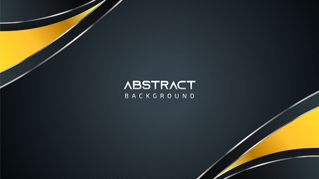 Abstract black and white technology background with golden elements and copy space for text Premium Vector