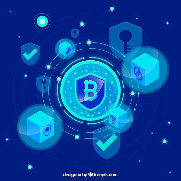 Abstract blockchain background Free Vector