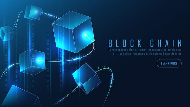 Абстрактный блокчейн баннер в футуристической концепции Premium векторы