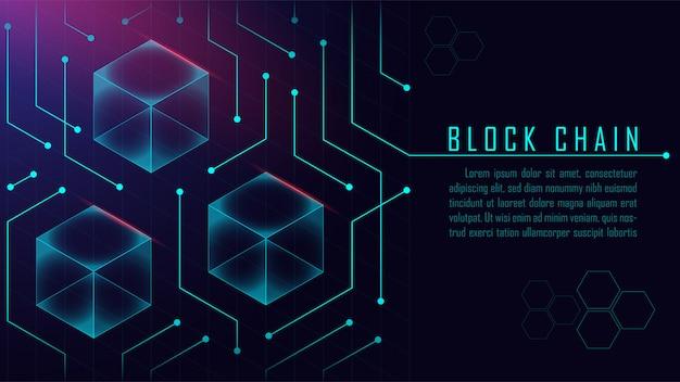 Abstract blockchain isometric concept Premium Vector
