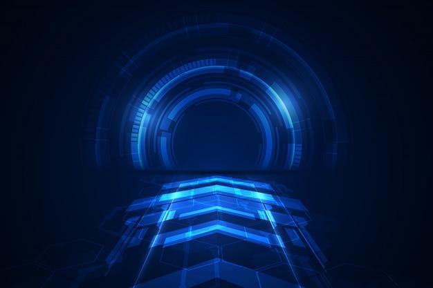 Abstract blockchain sci fi circular dial hud tech concept background. Premium Vector