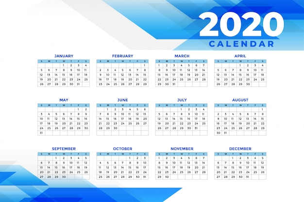 Abstract blue 2020 calendar template Free Vector