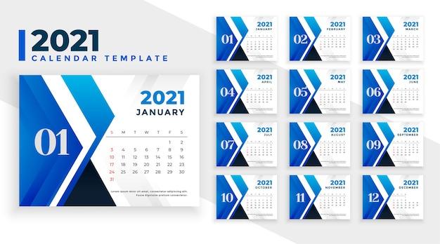 Абстрактный синий шаблон новогоднего календаря 2021 Бесплатные векторы