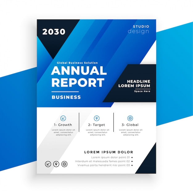 Abstract blue annual report template in geometric style Free Vector