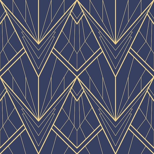 Abstract blue art deco seamless pattern Premium Vector