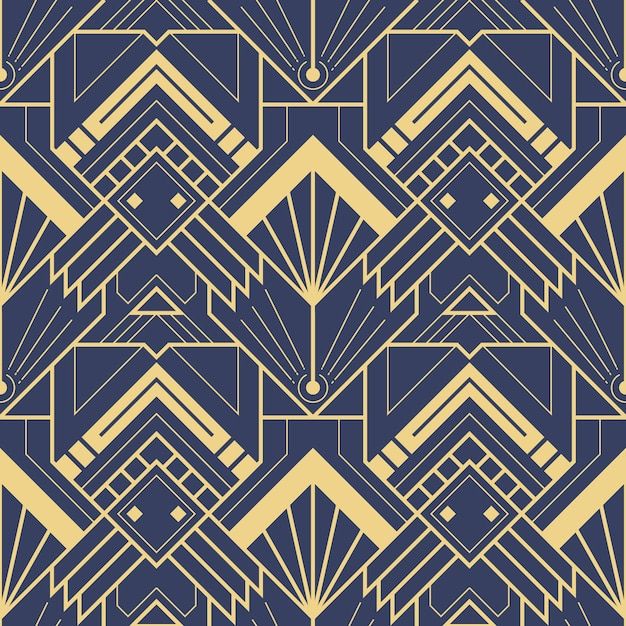Abstract blue art deco seamless pattern Premium Vector