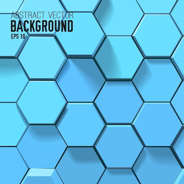 幾何学的な六角形の抽象的な青い背景 無料ベクター