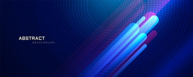 Abstract blue background with glowing\ lines