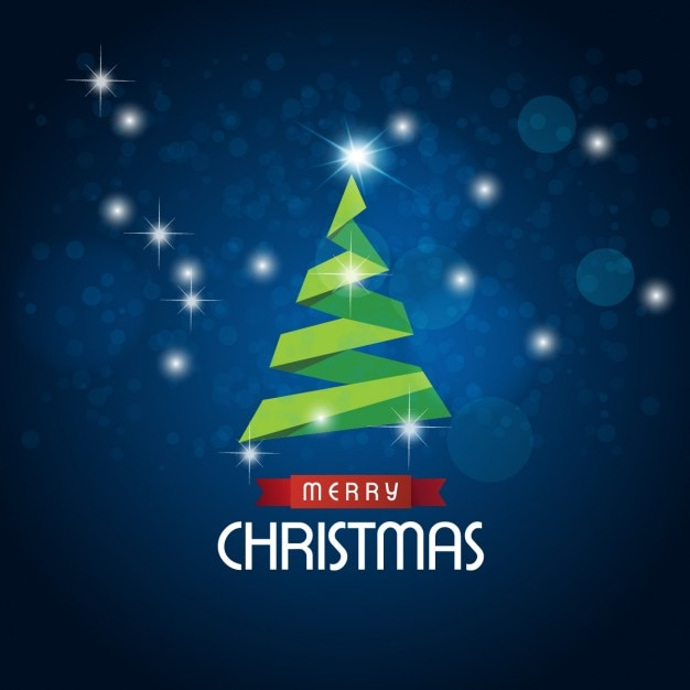 Abstract blue background with origami christmas tree Free Vector
