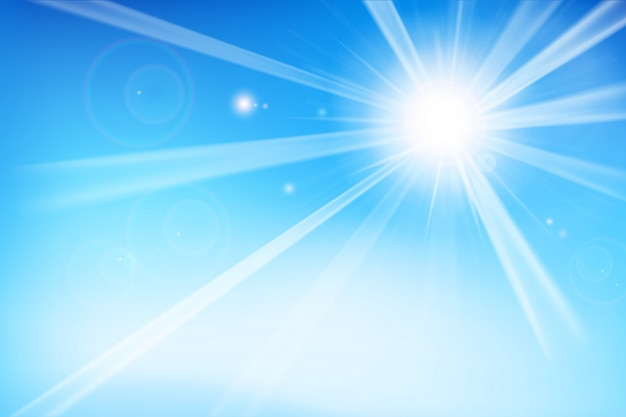 Abstract blue background with sunlight Premium Vector