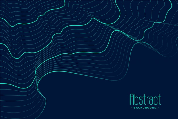 Abstract blue background with turquoise contour lines Free Vector