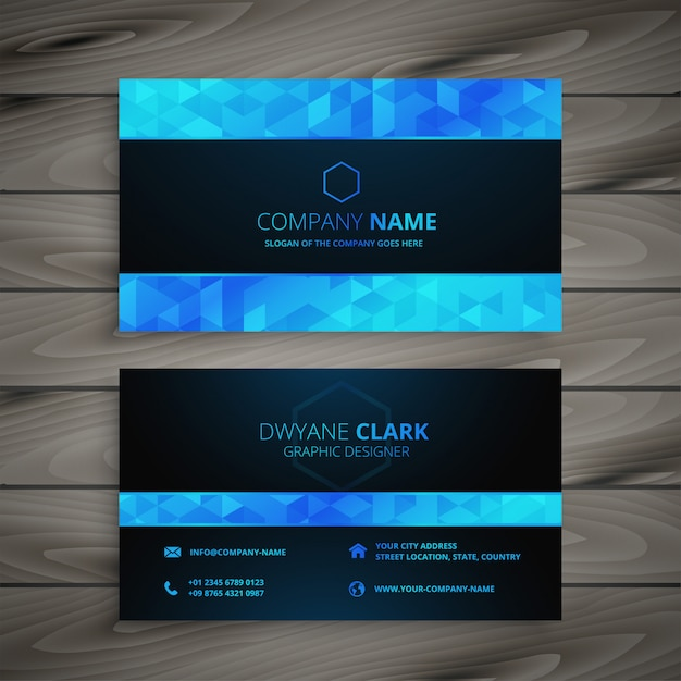 Abstract blue and black business card Free Vector