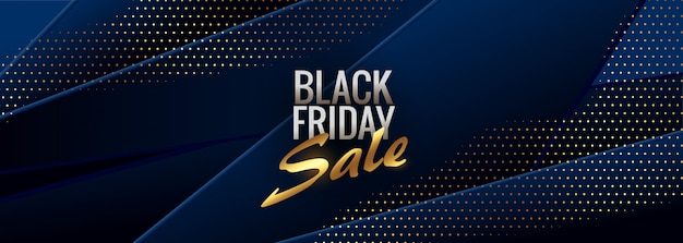Abstract blue black friday stylish banner Free Vector