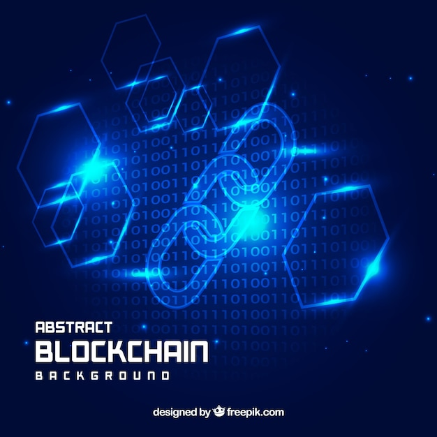 Abstract blue blockchain background Free Vector