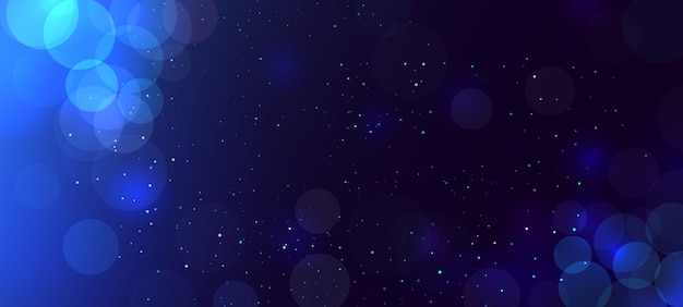 Abstract blue bokeh background with circles. Premium Vector
