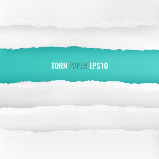Abstract blue  bordered with torn white paper edges from top and bottom realistic set Free Vector