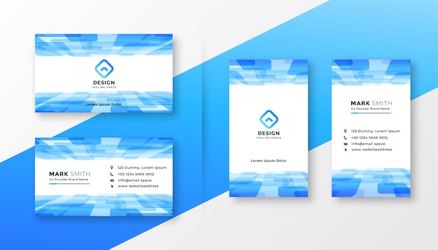Abstract blue business card template set Free Vector