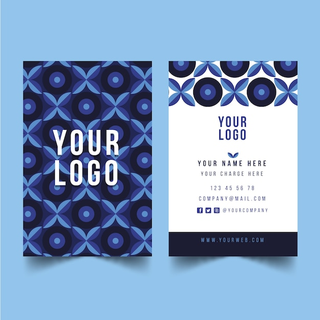 Abstract blue business card template Free Vector