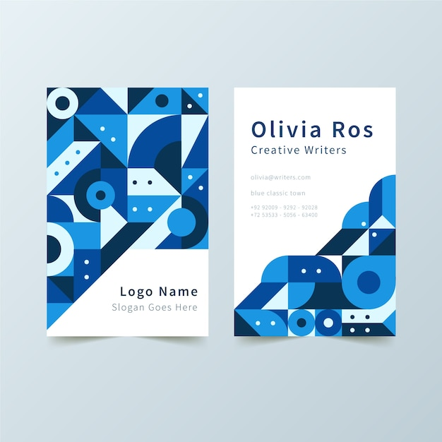 Abstract blue business card with geometrical shapes template Free Vector