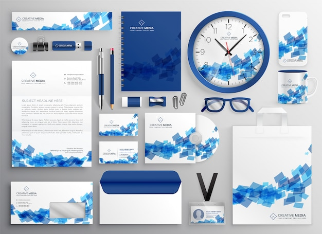 Abstract blue business collateral set design Free Vector