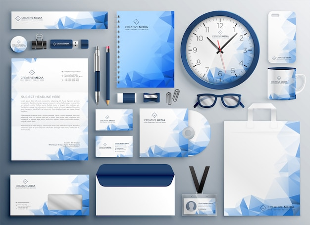 Abstract blue business collateral set Free Vector