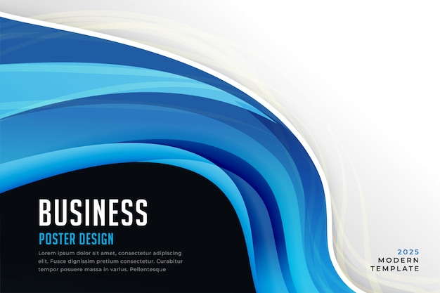 Abstract blue business wave presentation Free Vector