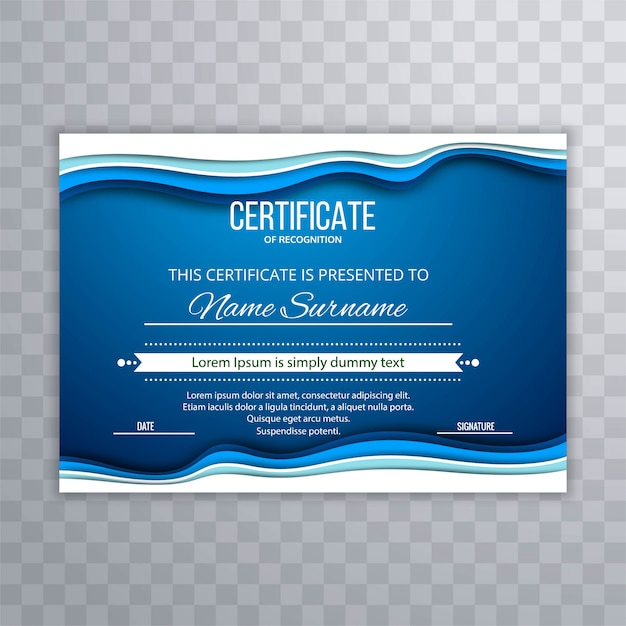 Abstract Blue Certificate Template Background Vector Free Download