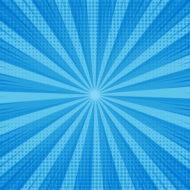 Abstract blue comic background with dotted design Premium Vector
