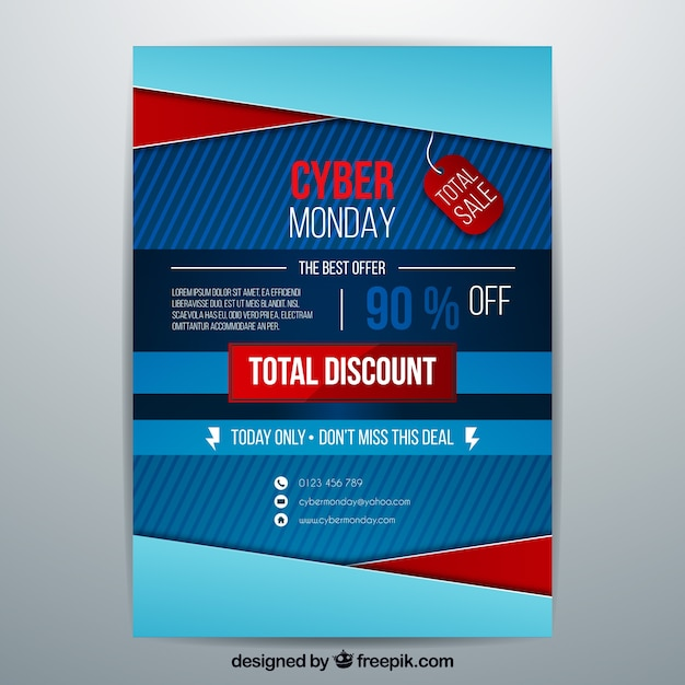 Abstract blue cyber monday poster
