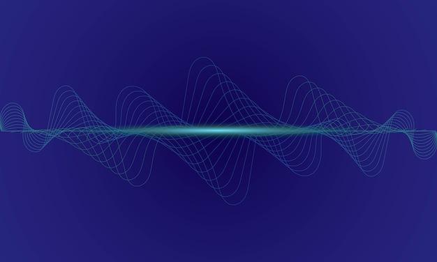 抽象的な青いデジタルイコライザー、音波のベクトル Premiumベクター