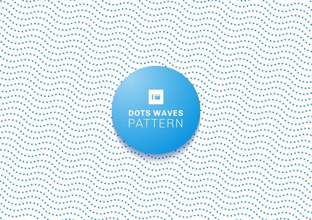 抽象的な青いドット波パターンホワイトバックグラウンド Premiumベクター
