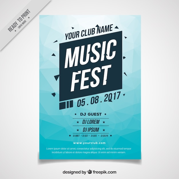 Abstract blue festival brochure Free Vector