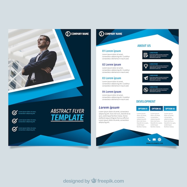 incroyable Abstract blue flyer template Free Vector
