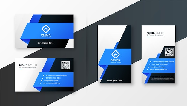 Abstract blue geometric business card design template Free Vector