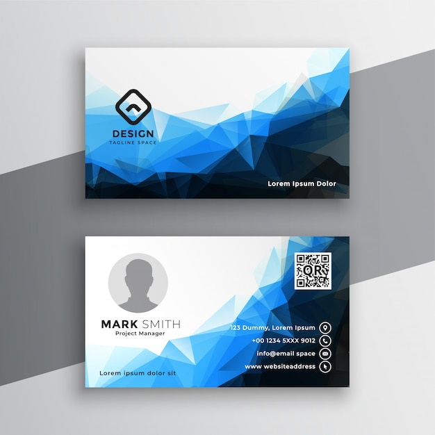 Abstract blue geometric business card template design Free Vector