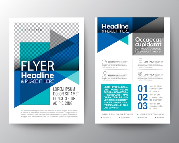 Abstract Blue Geometric Flyer Template Vector | Premium Download