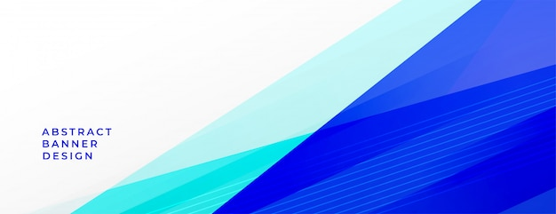 Abstract blue geometric lines background banner with text space Free Vector