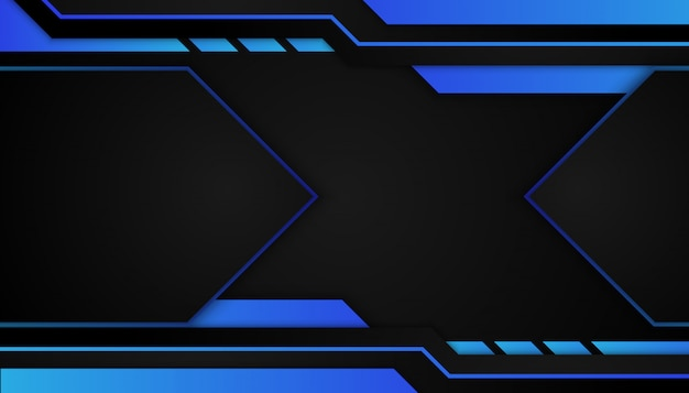 Abstract blue geometric shape on sport dark background Premium Vector