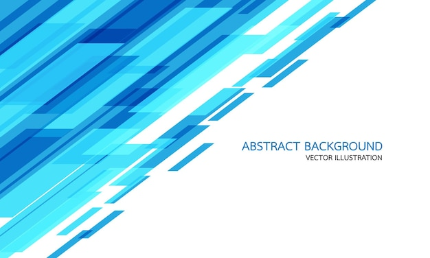 空白のスペースとテキストデザインモダンな未来的な背景ベクトルイラストと白の抽象的な青い幾何学的な速度技術。 Premiumベクター