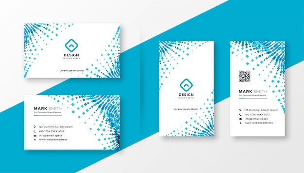 Abstract blue halftone business card design set Free Vector