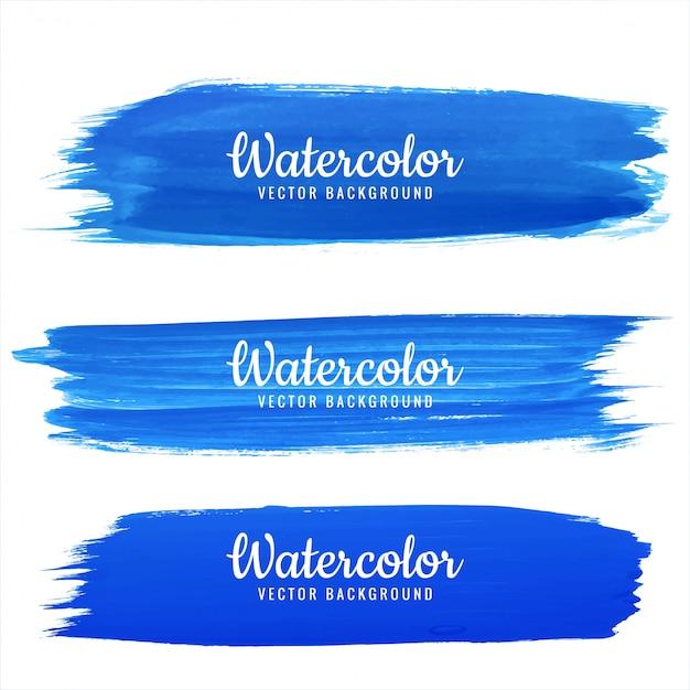 추상 파란 손으로 그리는 수채화 획 디자인 모음 무료 벡터