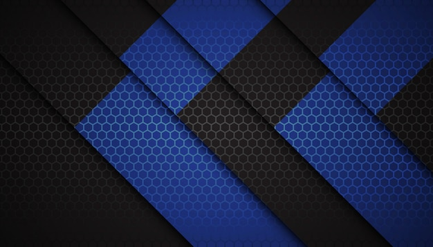 Abstract blue hexagon shapes on dark background Premium Vector
