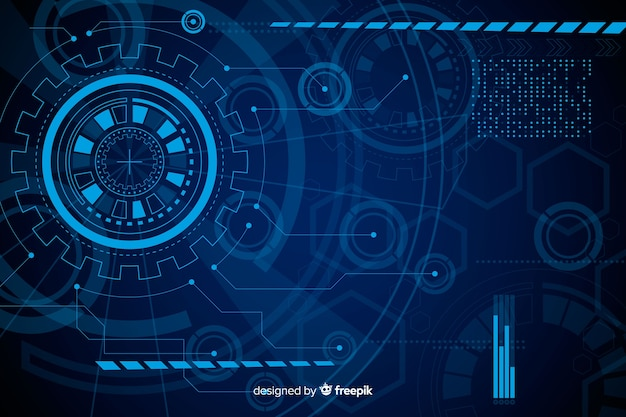 Abstract blue hud technology background Premium Vector