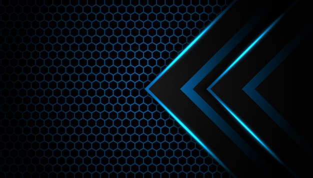 Abstract blue light arrow on black with hexagon luxury futuristic technology background Premium Vector