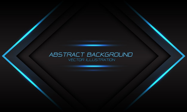 Abstract blue light flame arrow banner on dark grey futuristic background. Premium Vector