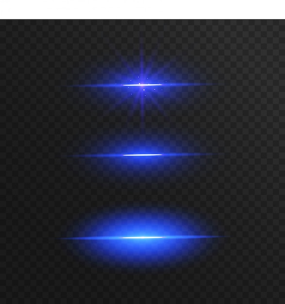 Abstract blue light lines isolated on transparent background Premium Vector