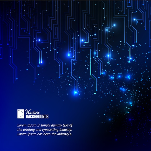 Abstract blue lights background. Free Vector